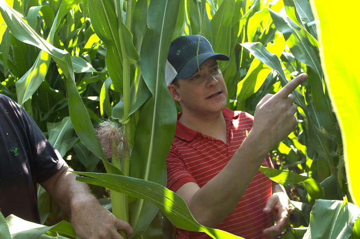 Pivot Bio co-founder and University of Iowa graduate Karsten Temme in a cornfield