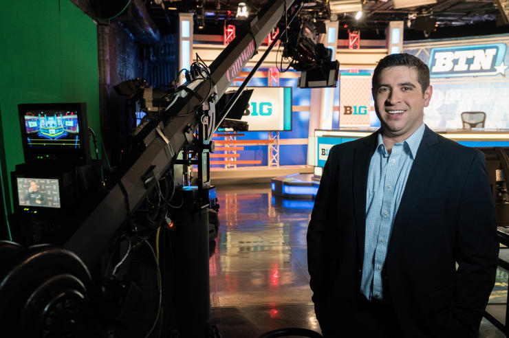 University of Iowa graduate Jordan Loperena in the Big Ten Network studio