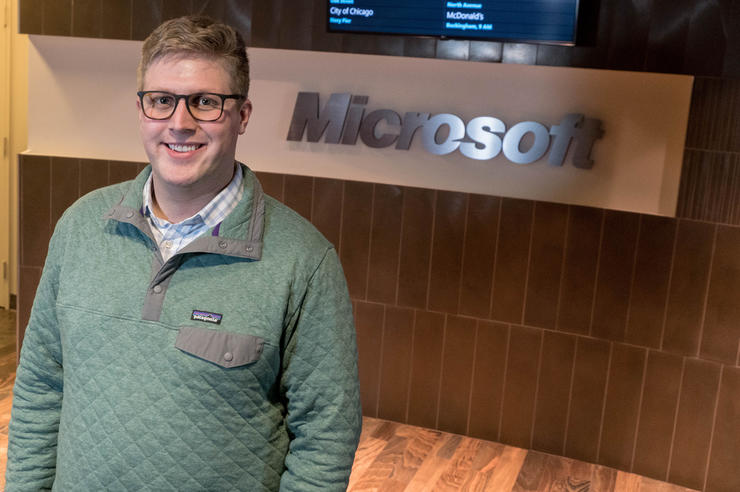University of Iowa alumnus Michael Nauman at Microsoft, where he works as a consultant