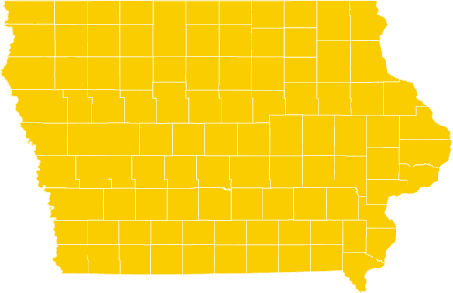 state of iowa with all counties shaded in gold