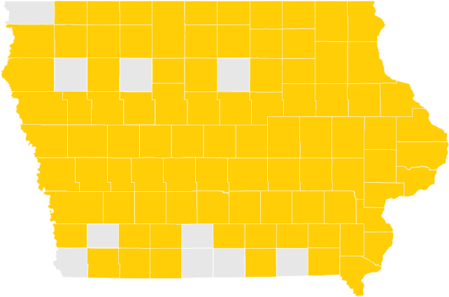 Map of Iowa with counties highlighted showing where Spring 2018 graduates are from