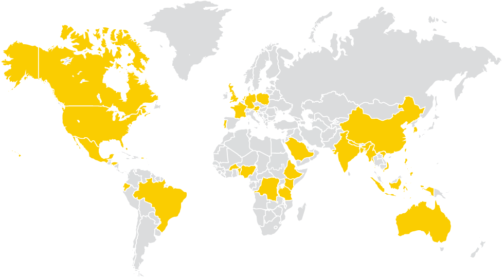 World map with countries highlighted showing where students are from