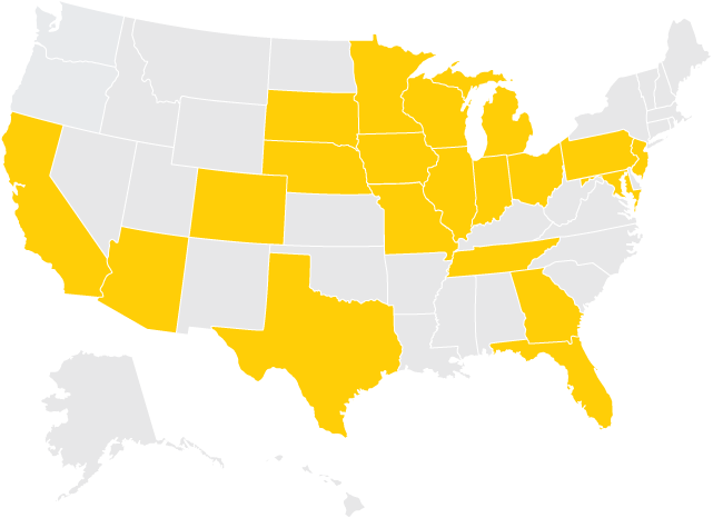 U.S. map with states highlighted indicating where December 2017 graduates are from