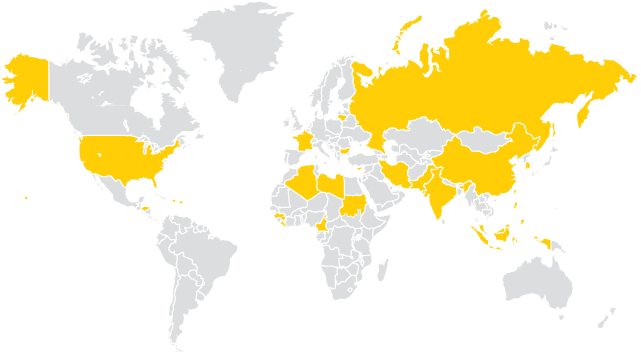 World map with countries highlighted to show where December 2017 graduates are fromd