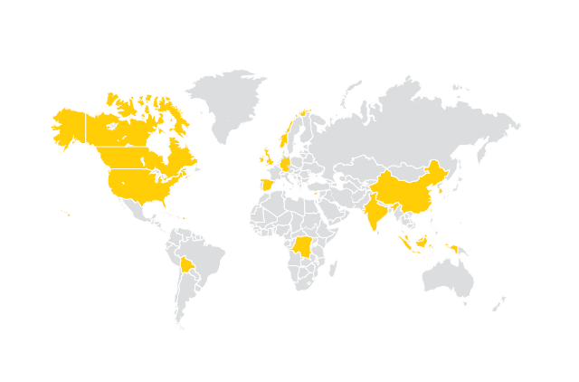 World map of where the Spring 2018 grads are from