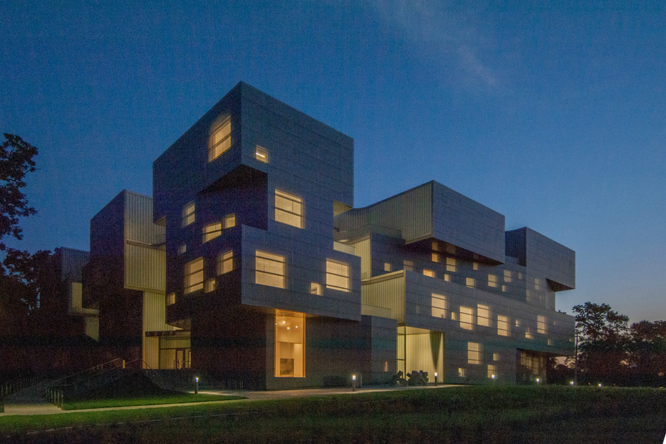 visual arts building exterior at night
