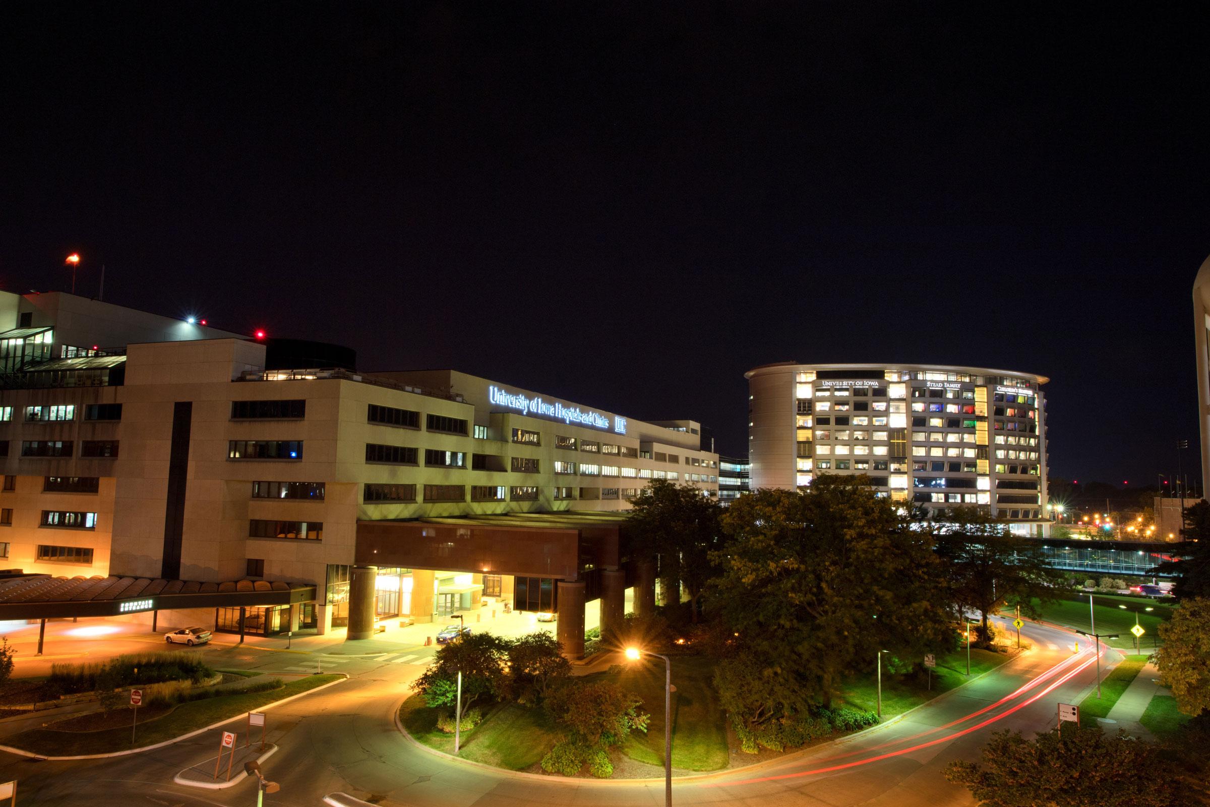 University of Iowa Hospital and Clinic at night