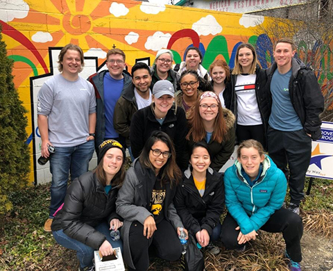 University of Iowa students participate in an Alternative Spring Break project in Indianapolis